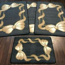 ROMANY GYPSY WASHABLES NON SLIP SETS OF 4 MATS/RUGS GREY/BEIGES NICE THICK MATS